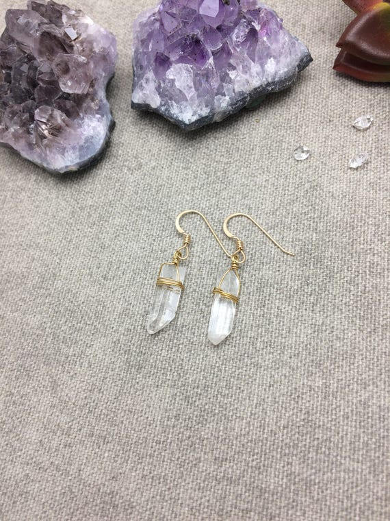Natural Raw Quartz Crystal Point Earrings, Matte Quartz Crystal Point Earrings, Raw Crystal Earrings,