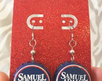 Recycled Bottle Cap Earrings- Samuel Adams Beer