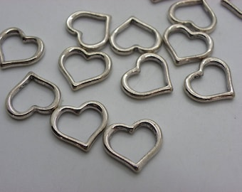 10 hearts 15 mm x 15 mm brass connectors charms