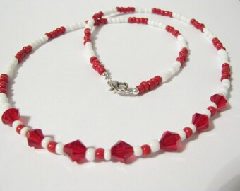 Red N White Necklace and Earrings