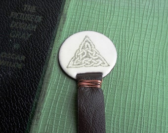 Bookmark  with Celtic Triangle Knot  in Ivory