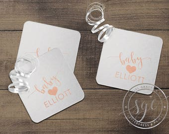 Cocktail Drink Coasters | Baby Shower Cup Coasters | Heart Coasters | Hot Stamped Foil Party Favors
