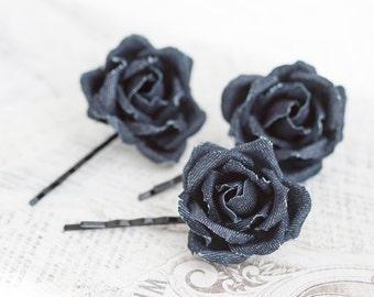Hair accessories flowers, Hair pins roses, Flower pins, Rose pins, Denim hair clips, Barrettes flowers, Rose clips, Hair pins roses 721