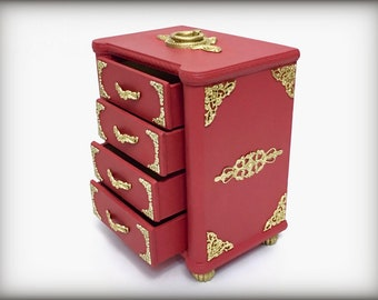 Vintage Red and Gold Jewelry Box Hand Painted Memento Keepsake Box Ornate Unique Jewelry Storage