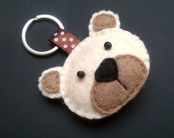 Felt bear keychain - teddy bear - felt accessories - eco friendly - gift for him - gift for her - key holder - felt animals