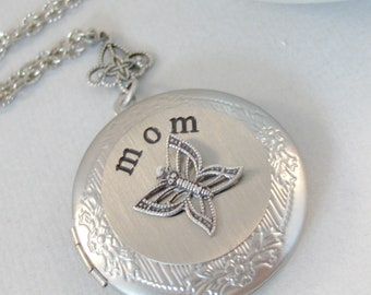 Butterfly Mom,Mothers Necklace,Jewelry for Mom,Mothers Day,Butterfly Locket,Butterfly Necklace,Mom Locket,Mom Jewelry,Mom Necklace,Mother