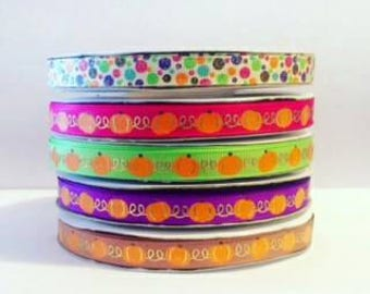 "3/8"" USDR pumpkins and polka dots Grosgrain ribbon"