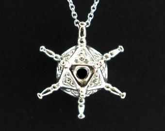 SALE - 25% OFF - Circogonia pendant - plankton - radiolarian - icosahedron - amoeboid - Science Jewelry - Marine biology - Ernst Haeckel Art