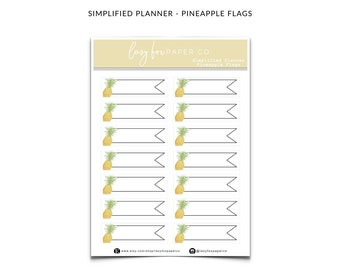 SIMPLIFIED PLANNER - Pineapple Flag Theme Stickers  - Decorative Functional Planner Stickers