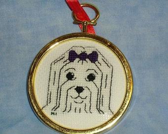 Maltese Cross Stitch Ornament - Show Cut