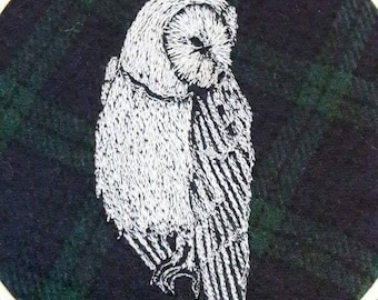 Owl embroidery art. Owl decor barn owl. Tawny owl