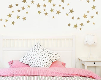 55 Stars Silver or Gold Metallic Multi sized  5 Point Star Vinyl Wall Decals