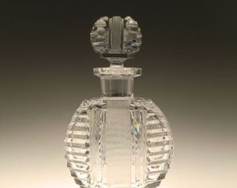 Big Bohemian Czech Art Deco Crystal Clear Cut Glass Perfume Bottle
