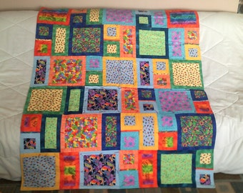 Quilt, Baby Quilt, Toddler Quilt, Hearts, Pink, Blue, Baby Shower Gift, Tummy Time