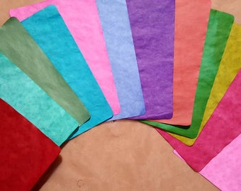 12 pages of hand dyed parchment paper, stationery, junk journal, smash books, scrapbooking