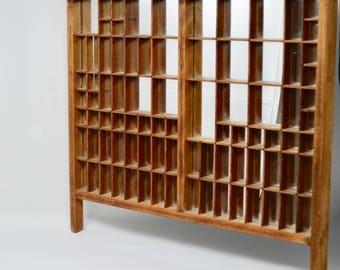 Vintage Hamilton Wooden Mirrored Typeset Drawer Display Shelf Knick Knack Display Shelf With Wall Hanger