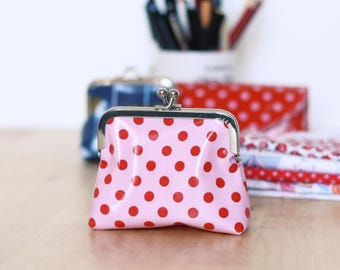 Retro purse pink with red dots (CLASP 10 cm)