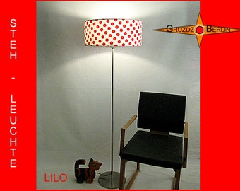 Floor lamp with dots LILO red white floor light polka dots