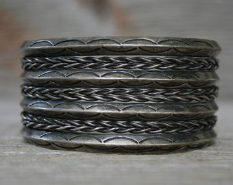 Old Navajo Native American Wide Hand Stamped Twisted Rope Sterling Cuff Bracelet