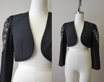 1980s Black Lace Cropped Jacket