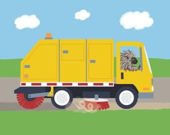Street Sweeper Nursery Art - Porcupine Kids Bedroom - Trucks Baby Decor