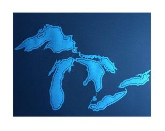 Great Lakes Poster Print. Hand pulled silkscreen print. Lakes Michigan, Huron, Erie, Superior, Ontario, screen print art print.