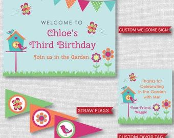 Garden Birthday Printable Party Package - Garden Themed Birthday Party Decor - Backyard Birthday - Park Party -DIGITAL DESIGN