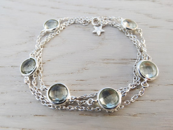 Silver Wrap Bracelet Or Necklace With Green Amethyst & Star - Sterling Silver