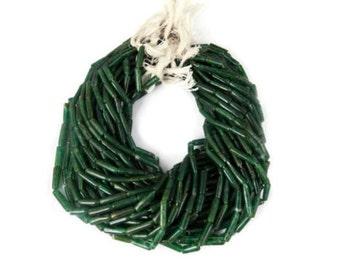 "2 Strands Green Aventurine Smooth Tube Gemstone Rondelle 3.5X12mm Beads 13"" Long"