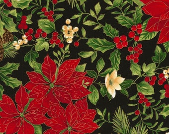 Fabric Christmas Pointsetia from the  Joyful Seasons Collection by Timeless Treasures