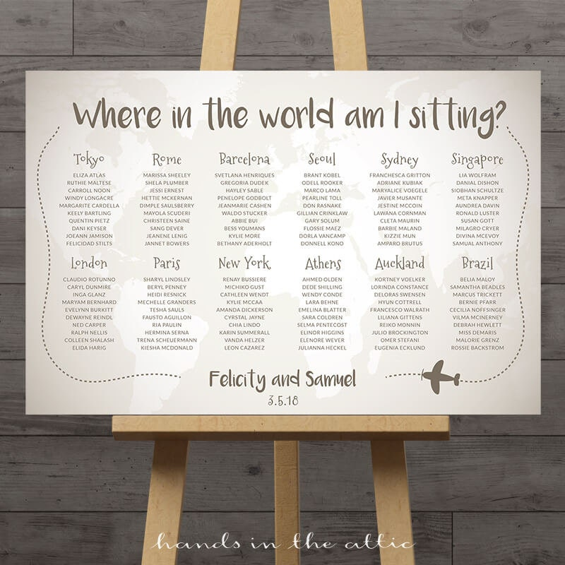 World Map Wedding Seating Chart Travel Theme City Destination