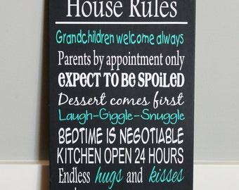 CUSTOM wood sign, GRANDPARENTS HOUSE Rules