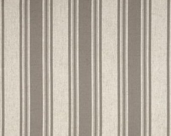 Two 50W x 90L panels, lined drapes, Waverly Thames stripe nickel