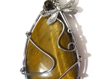 Necklace Pendant Tiger Eye wire wrapped with dragonfly