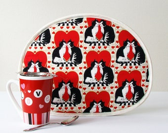Tea Cozy, Teapot Cover, Coffee Carafe Cozy, Tea Cosy Tuxedo Cats Hearts Red Black White