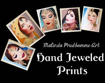 "Hand Jeweled Prints - Embellished 8"" x 10"" Indian Brides & Beauty Art - By Toronto Portrait Artist Malinda Prudhomme"