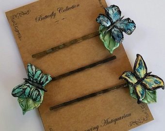 Butterfly Bobby Pin Variety Set, Handcrafted Nature Hairpins