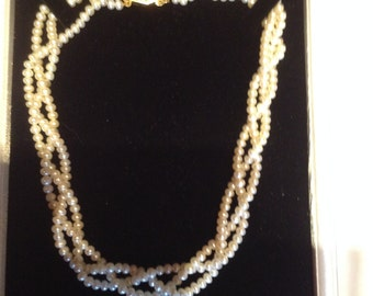 3 String Pearls, Plaited Pearls, Cultured Pearls, 3 String of Plaited Pearls with Gold Plated Clasp