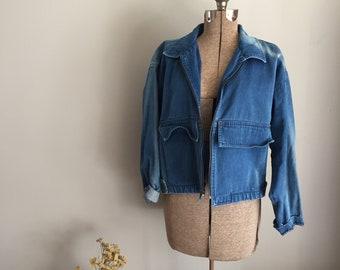 Vintage 90s Sun Bleached Seattle Gear Jean Jacket