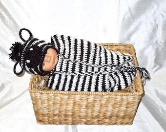 Crochet Baby Cocoon, Hat Set, Newborn, Zebra, Black, White, Earflap Hat, Baby Shower,