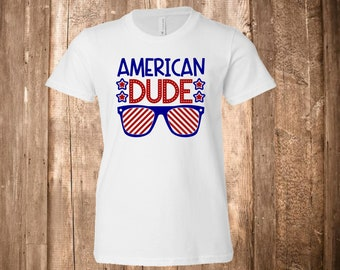 4th of July - American Dude - 'Merica - Murica - America - Glasses - Star Spangled - Shirt - Boys Tee - Graphic Tee - Red, White, and Blue