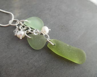 UV Green Sea Glass Necklace Beach Seaglass Jewelry Pendant