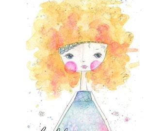 Custom handmade print notecards original hand drawn watercolor girl cards inspirational original watercolor girl