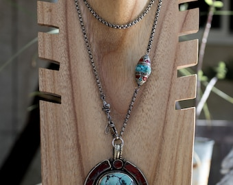 Antique Silver and Turquoise Pendant