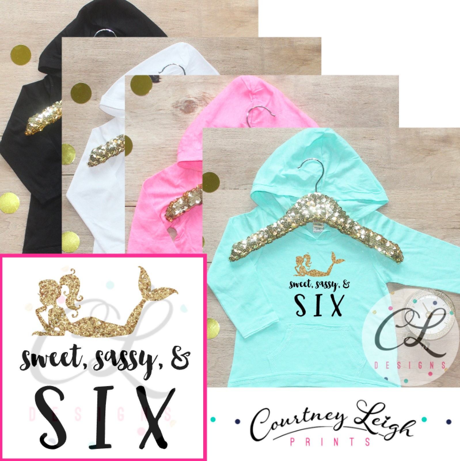 Birthday Girl Shirt Baby Girl Clothes Sweet Sassy Six Mermaid 6
