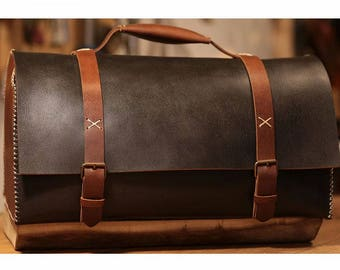 Black Vegetable Tanned Leather Travel Bag, Leather Duffel Bag, Leather Suitcase