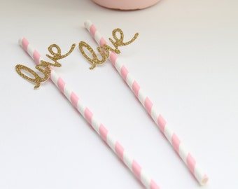 Pink Paper Straws- Pink and Gold Paper Straws- Love Straws- Bridal Shower Decor- Wedding Decor- Baby Shower Decor