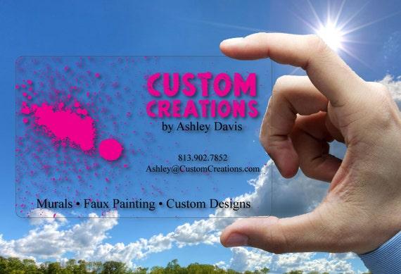 Clear plastic business cards paint splatter 30 mil thick colourmoves
