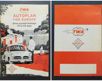 TWA Autoplan For Europe / 1960s Vintage Airline Travel Brochure / Trans World Airlines Fare Chart / 18-Page Travel Brochure