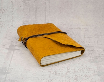 Orange leather journal, embossed sketchbook, unique notebook A6 travel journal